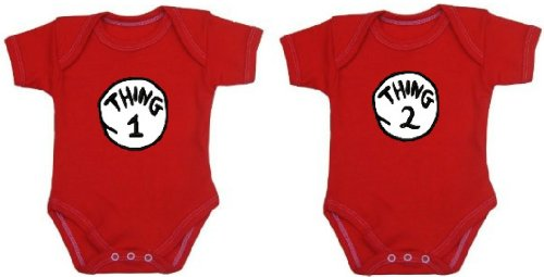 Thing 1 and Thing 2 Set of Twins One-piece Baby Shirts/Bodysuits