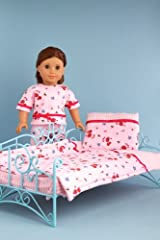 Perfect Bedding - Pink cozy bedding includes comforter, blanket and pillow - 18 Inch Doll Bedding