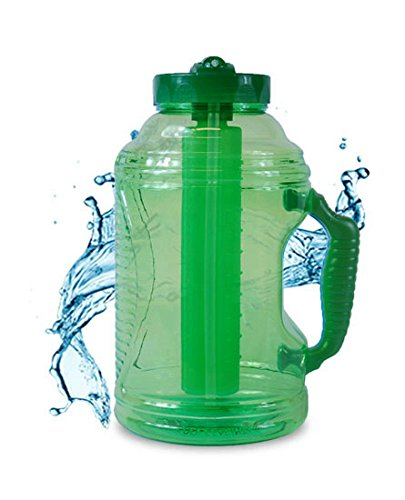 Cool Gear 75 oz EZ Freeze Water Bottle w/ Handle Straw and Ice Pack (Green) (Soda Bottle Straw compare prices)