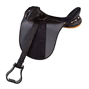 Down Under Saddle Supply Kimberley Synthetic Endurance Wide Saddle, Black, 16-Inch