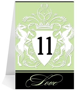 Wedding Table Number Cards - Shield Horses Mint Chocolate #1 Thru #27 horses