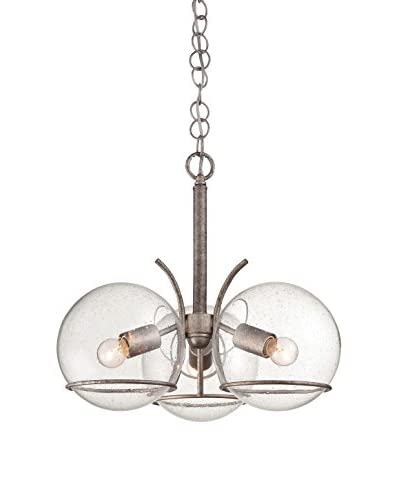 Varaluz Watson 3-Light Ceiling Lighting, Silver Age/Clear