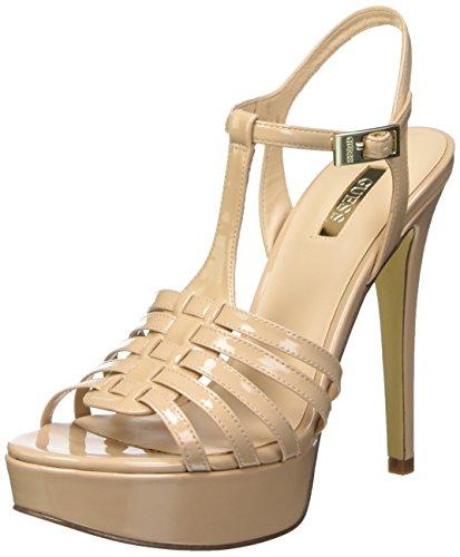 Guess Kamali Patent Pu Sandali con cinturino alla caviglia, Donna, Beige (Nude), 37