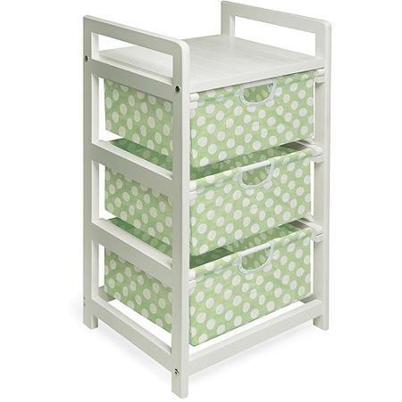 Badger Basket White 3-Drawer Hamper/Storage Unit, Sage Polka Dots (3 Drawer Hamper Storage Unit compare prices)