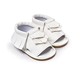 LIVEBOX Infant Baby Mocassins Premium Soft Sole Tassels Anti-Slip Summer Prewalker Toddler Sandals(L: 12~18 months,White)