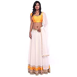 White georgette lehenga and yellow raw silk blouse with white georgette duppatta