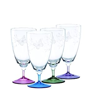 Lenox butterfly meadow multi colored stemmed drinking glass set of 4 drinkware - Lenox colored wine glasses ...