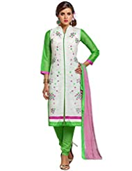 Mastani Kreation Off White Chanderi Embroidered Unstitched Dress Material