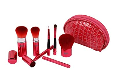 Bundle Monster 6pc Retractable Makeup Brush Accessory Travel Kit- Blush, Kabuki, Powder, Carrying Case Combo Set - Pink by Bundle Monster