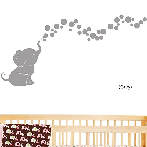 Elephant Bubbles Nursery Wall Decal Set (Grey)