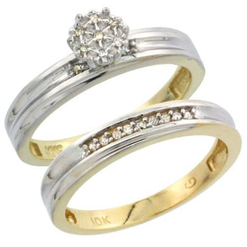 10k Gold 2-Piece Diamond Engagement Ring Set, w/ 0.07 Carat Brilliant Cut Diamonds, 1/8 in. (3mm) wide, Size 7