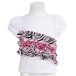 Laura Dare White Sleep Top Size 18M Pink Black Animal Ruffle Baby Girl