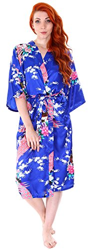 Women's Peacock Design Janpanese Dress Satin Kimono Robe,Medium Blue