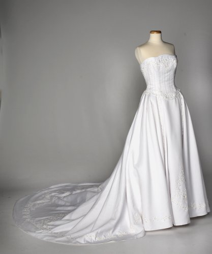 White Satin Strapless Wedding Gown with Ribbon Details
