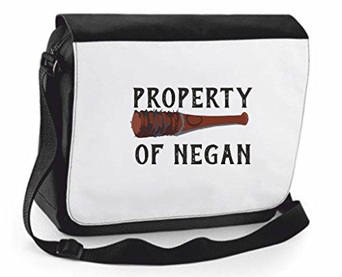 Property Of Negan attenzione parodia Zombie-Borsa a tracolla Messenger, Borsa a tracolla, borsa da viaggio, Black, Large (Nero) - SB-prop-negan-Black-L
