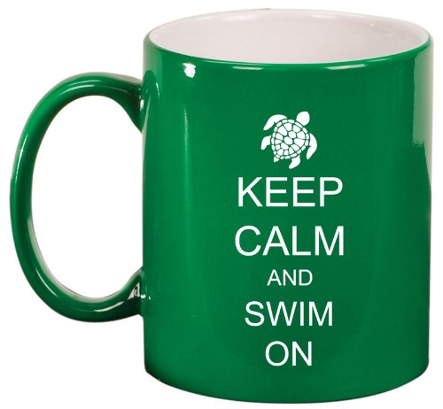 Keep Calm And Swim On Sea Turtle Ceramic Coffee Tea Mug Cup Green