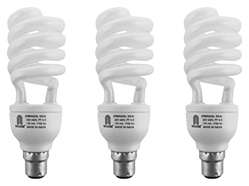 Ncore 27W B22 CFL Bulb (Pack of 3, Cool Day Light)