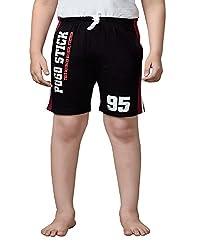 Punkster Black Cotton Shorts For Boys