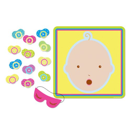 Beistle - 66675 - Pin The Pacifier Baby Shower Game - Pack of 24