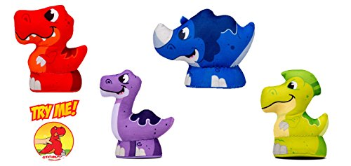 Thunder-Stompers-Stomp-A-Saurs-Mini-Slash-Mash-Crash-and-Flash-Plush-Stuffed-Toy-Dinosaur-with-Sound-4-Piece-Set