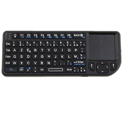 iclever®Rii 2.4GHz Mini clavier sans-fil (wireless)RT-MWK0+AZERTY (version française) compatible avec Raspberry Pi, tietel , android mini PC , Google Android TV-Piles au lithium-ion rechargeable