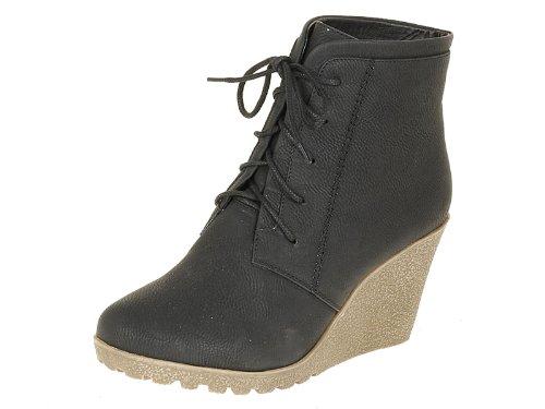 Reneeze CHERRY-2 Women High Heel Wedge Ankle Boots-BLACK-6.5