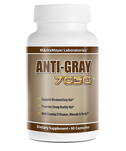 Anti-gray Hair 60 Capsules - Decrease Gray Hair - Restore Natural Hair Color - Contains Essential B Vitamins Minerals and Herbs