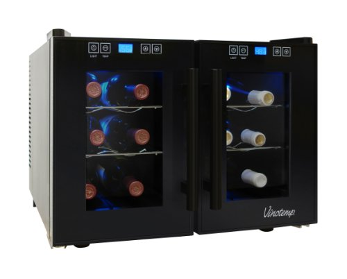 Vinotemp VT-12TEDTS-2Z 12-Bottle Dual-Zone Thermoelectric Wine Cooler, Black