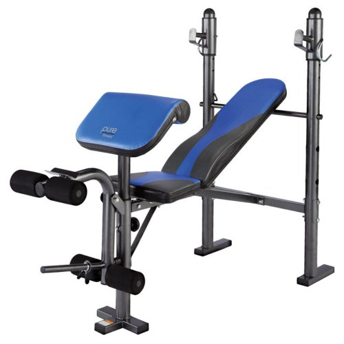 Pure Fitness Multi Purpose Mid Width Weight Bench, Blue/Black front-1048714