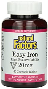 Natural Factors Easy Iron Chewables 20mg Tablets, 60-Count