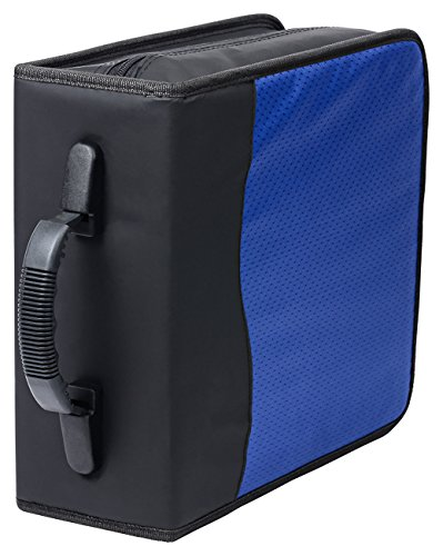Deluxe 320 Disc CD/DVD Media Case - Blue - with New and Improved Inserts, double the thickness and all tabs pulled (Movie Case Storage compare prices)