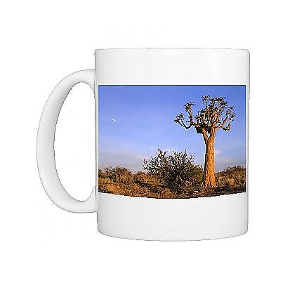 Photo Mug Of Kokerboom / Quiver / Aloe Trees - And Moon - In Early Morning Light front-625643