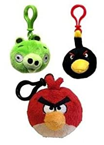 Angry Birds Plush Keychain Backpack Clip (Red/Green/Black)