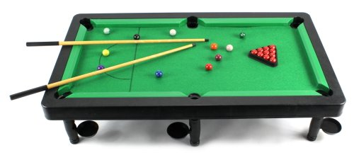 Cool 8-in-1 Novelty Toy Billiard Pool Table Game w/ Table, Full Set of Billiard Balls, 2 Cues, Triangle, Accessories