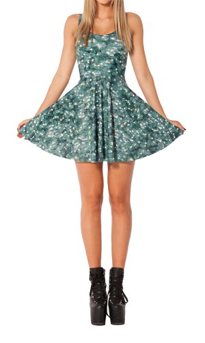 Women'S Pleated Knee-Length Christmas Tree Pattern Reversible Skater Dress
