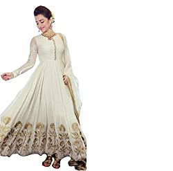 Be With Me Women's Faux White Georgette Anarkali Salwar Suit Dress Material