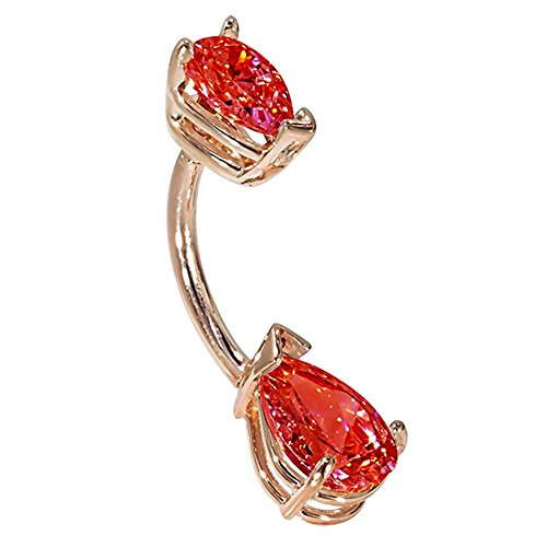 """14G 3/8"""" - Double Pear Shape Red Cz 14K Rose Gold Belly Ring - (July)"""