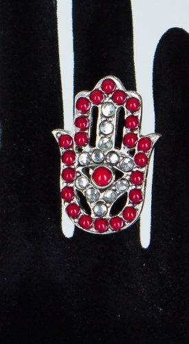 Zad Jewelry Hamsa Hand Stone Ring - Red