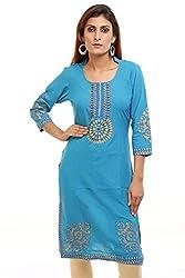 Aamii Women's Cotton Kurta(Aamii755_Turquoise_XX-Large)