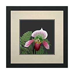 Susho, King Silk Art 100% Handmade Silk Embroidery - Spotted Orchid with Ferns - White Mat Framed Medium Size 36107WF
