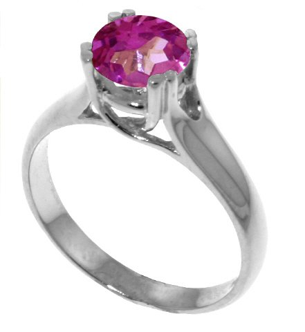 Genuine 1.1 Carat (ct, cttw, ctw) Round Pink Topaz .925 Sterling Silver Solitaire Engagement Ring