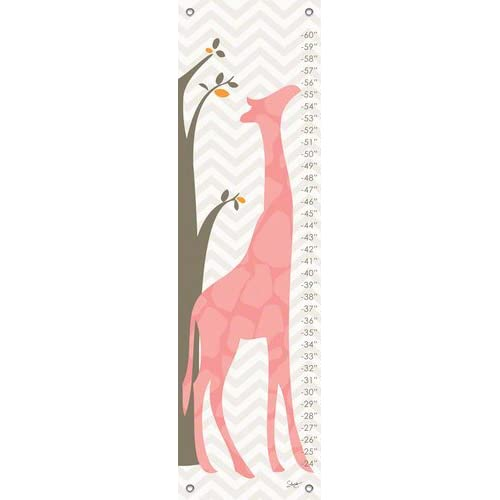 Oopsy Daisy Fine Art for Kids Modern Giraffe Pink Growth Chart by Stacy Amoo-Mensah 12 by 42-Inch