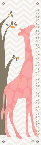 Oopsy Daisy Fine Art for Kids Modern Giraffe Pink Growth Chart by Stacy Amoo-Mensah, 12 by 42-Inch
