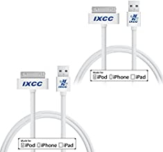 [Apple MFI Certified] iXCC ® 2 PCS White 3ft (THREE FEET) 30 pin Sync Charge Data Cable for iPhone 4, 4s / iPad 2, 3 / iPod 1, 2, 3, 4, 5, 6 White USB SYNC Cable Charger Cord [30pin Cable]