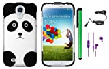 Samsung Galaxy S IV/S4 GT-I9500 Accessories Combination - Premium Pretty Design Protector Hard Cover Case + 1 Random Color Universal Handsfree Headset 3.5MM Stereo Earphones + Car Charger + 1 of New Metal Stylus Touch Screen Pen (Black Silver Panda Bear)