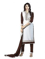 SR Women's Cotton Unstitched Dress Material (White Top Black B duptta )
