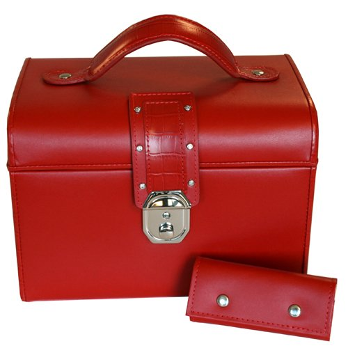 Paylak Ts350Red Red Leather Jewelry Box With Rhinestone Buckle Lock And Travel Case Tech Swiss