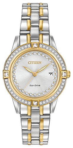 Citizen Silhouette Crystal Women's Quartz Watch with Silver Dial Analogue Display and Silver Stainless Steel Plated Bracelet FE1154-57A