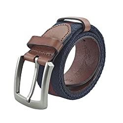 Salutto Men's Genuine Leather and Canvas Stitching Style Reversible Belt (47 Inch)