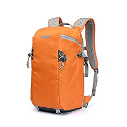 BESTEK® Nylon Backpack Camera Backpack Rucksack Daypack SLR DSLR Digital Camera Bag Outdoor Travel Backpack Gadget Organizer Bag - Waterproof, Multi-Compartments, Carry Handle (Bright Orange)